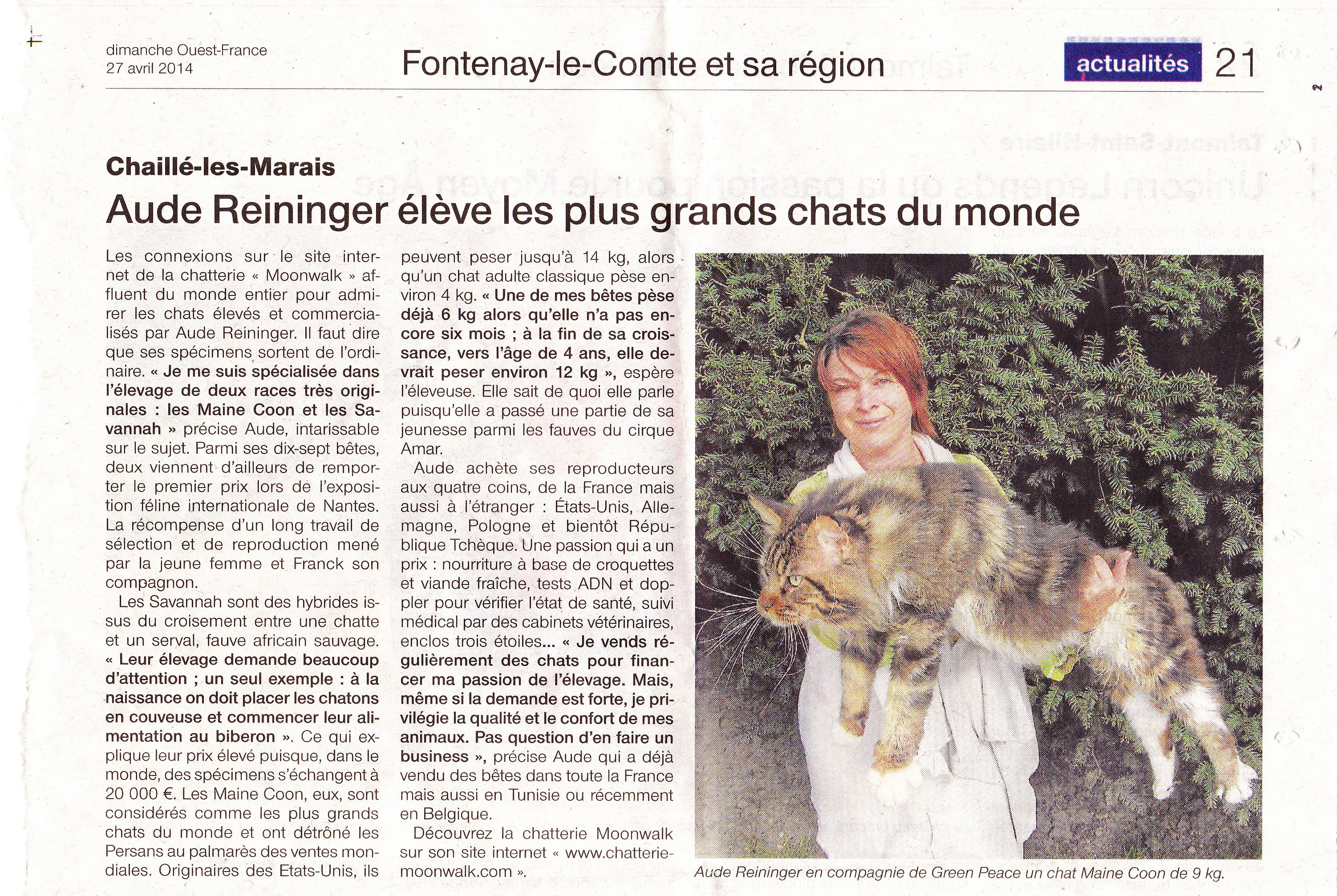 Le journal ouest france visite la chatterie moonwalk article du dimanche 27 avril 2014 - Ouest france le journal gratuit ...